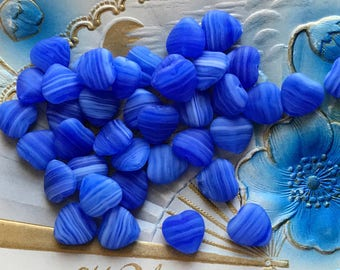 20 Vintage Heart beads, Cobalt Hearts, Glass heart beads, Czech heart beads, Valentines Day, 10mm Hearts, Glass Hearts, Blue and white, #257