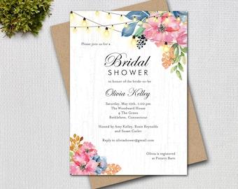 Rustic Bridal Shower, Flowers and String Twinkle Lights, Printable Digital Invitation, 6241