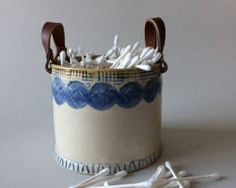 Ceramic Utensil Holder, Ceramic Utensil Jar, Basket, Storage Basket, Basket with Leather Handles,Ceramic Bowl with Handles,Housewarming Gift
