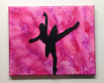 Ballerina Silhouette Melted Crayon Art Painting