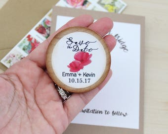 Save the date MAGNET wodden save the date poppie flowers Wedding Favors  Wood  slice Magnets floral watercolor magnets custom magnets