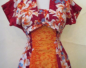 "Killer 1950's Hawaiian Two Piece Sundress by ""Kamehameha"" shelf bust vintage Tiki dress pinup Girl Rockabilly Size X Small"