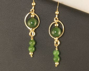 Jade Gold Filled Dangle Earrings, Unique Green Nephrite Jade Gemstone Wire Wrapped Gold Dangle Earrings, Green Jade Wire Jewelry