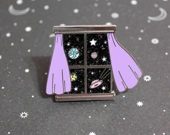 Outer Space Window Hard Enamel Pin - My View Series Number 2 Martian Galaxy Glitter Enamel Pin