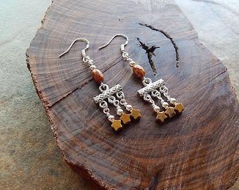 Chandelier earrings - star earrings - small statement earrings - brown stone earrings - celestial - fancy dangle earrings - little stars