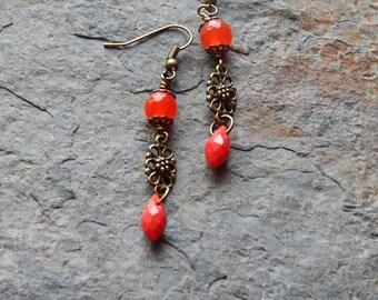 Cherry red quartz earrings - faceted glass teardrop earrings - fancy red earrings - bohemian jewelry - red and brass - dangle earrings