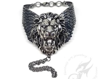 Large WINGED LION Slave Bracelet ~ Silver Plated Brass and Stainless Steel w/ Crystal Eyes ~ Victorian, Gothic, Steampunk, Fantasy #B0178
