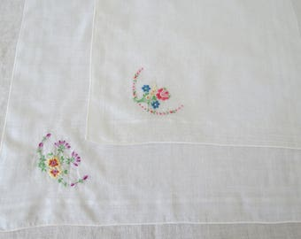Vintage Hanky Lot - 2 Sheer White Handkerchiefs with Floral Embroidery