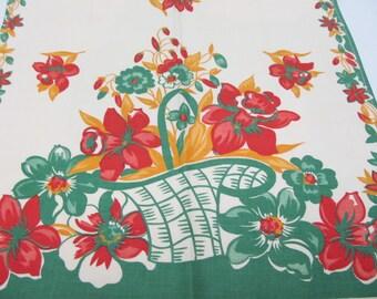Vintage Kitchen Towel Baskets Of Flowers