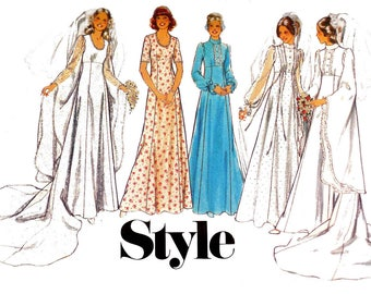 Style 1767 Womens Boho Wedding Dress Goth Bridal Gown Mediaeval Sleeves & Train 70s Vintage Sewing Pattern Size 14 or 16 Bust 36 or 38 inch