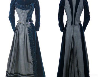Antique 1880s 1890s Victorian Blue Velvet & Silk Dress, 2pc Victorian Skirt and Bodice Jacket with 3D Flower Petals, Steampunk Clothing