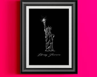 NYC Statue of Liberty Printable Art, New York City Black and White Print, College Dorm Girl, American Dorm Decor Typography Wall Art