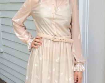 70s Sheer Dress Beige Neutral Ruffle M L 1970s Vintage