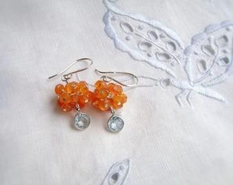 Blue Topaz Earrings, Carnelian Cluster Earrings, Sterling Silver, OOAK, Orange Carnelian, Gemstone Jewelry, Faceted Blue Topaz, 1027
