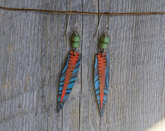 ECLECTIC FESTIVAL / Wood Earrings / Women's Jewelry / Gifts For Her / Sustainable / Earrings / Acrylic Painting / Art / Art Jewelry