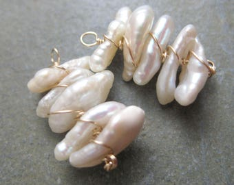 Creamy Stack of Pearls INTERCHANGEABLE Earring Charms in Gold -Baroque Pearl Charms - Pair Wire Wrapped Convertible Earring Drops