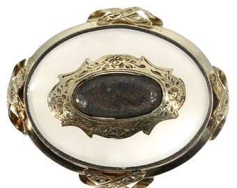 Victorian floral brooch 14k yellow gold chalcedony stone antique pin brooch