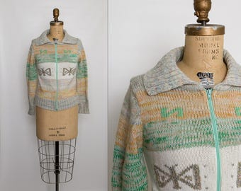 vintage 70s cardigan sweater with butterfly motif