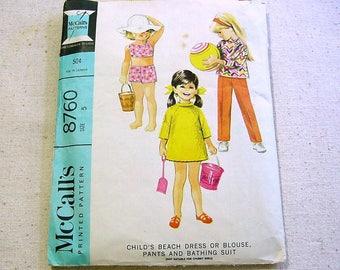 Vintage 60s Pattern Child's Swimsuit,Beach Dress,Blouse,Pants - McCalls 8760 Bathing Suit -Size 5