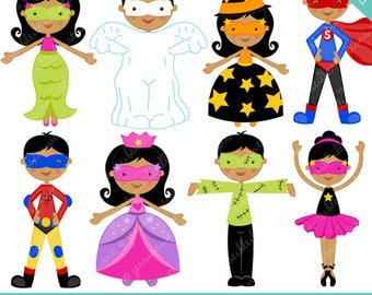 Halloween Kids V2 Cute Digital Clipart - Commercial Use OK - Halloween Graphics, Halloween Clipart, Halloween Costumes
