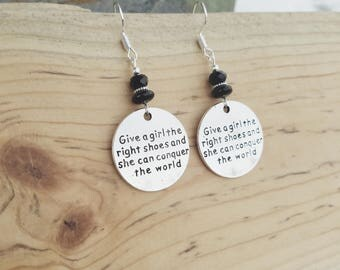 Give A Girl The Right Shoes Earrings, Black Conquer the World Sterling Silver Earrings, Give A Girl The Right Shoes Black Sterling Earrings