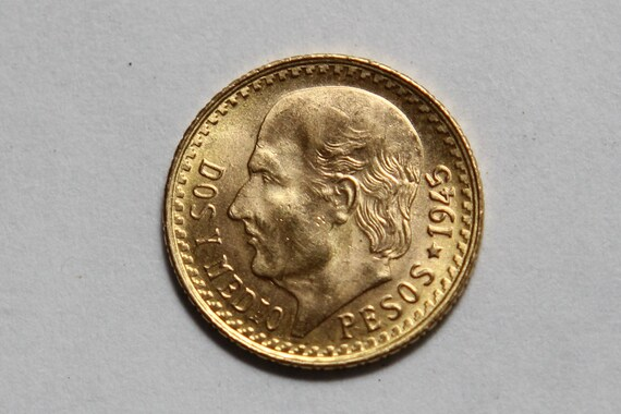 Authentic 1945 Mexican 2 1/2 Peso Gold Coin
