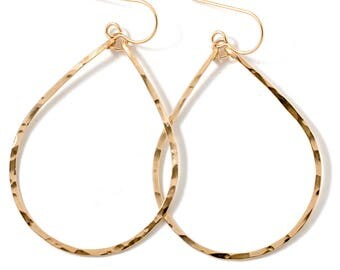Teardrop Gold Hoop Earrings / Teardrop Earrings / 14K Gold Fill Sterling Silver or Rose Gold Hammered Tear Drop Hoops - Silver Hoops