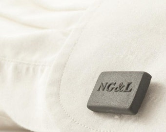 Personalised engraved porcelain gray cufflinks, personalized jewelry initial cufflinks,customize initial cufflinks