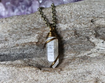 Quartz Crystal Necklace - Wire Wrapped Crystal Pendant - Festival Fashion - Wiccan Jewelry - Wicca Necklace - Boho Style - Raw Stone Jewelry