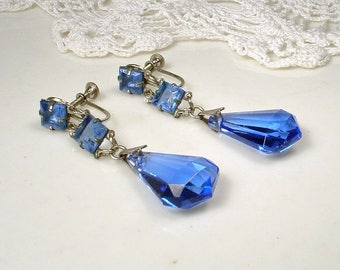 Vintage Art Deco Sapphire Crystal Dangle Earrings, Cobalt Blue Silver Bridal Rhinestone Flapper Earrings,1930s Gatsby Downton Abbey Screw On
