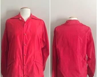 80s Vintage Russell Athletic  Windbreaker Jacket // Red Windbreaker// Members Only Jacket
