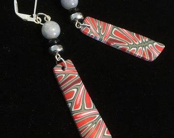 Feather Red Earrings . Lever Back . Polymer Clay