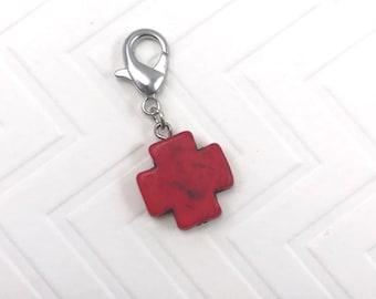 Badge Reel Dangle Diffuser Charm Beaded  Keychain Red  Cross Beaded Attachment Clasp RN Nurse Technician Nicu CNA Medical Symbol