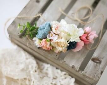 Marisol -- toddler child adult adjustable offset coral blush mauve navy greenery floral fall boho headband