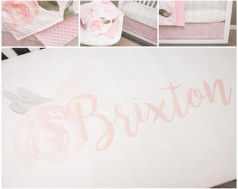 Watercolor Floral Baby Bedding, Personalized Crib Bedding, Blush Pink, Soft Olive, Name Crib Sheet, Pink Crib Skirt, Floral Minky Blanket