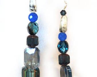 Genuine Raw Sapphire Rutilated Quartz Swarovski Crystal Glass long Drop Earrings in Blue