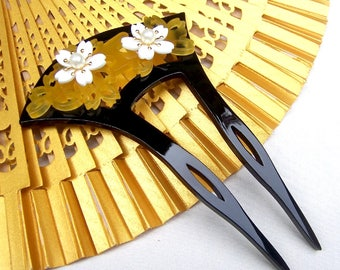 Japanese kanzashi hair comb hair pin hair pick hair fork Geisha headdress headpiece decorative comb (AAA)