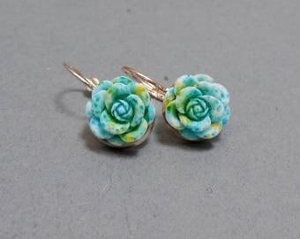 Blue Rose Earrings - Rose Earrings - Flower Earrings - Spring Floral Earrings - Rose Gold Earrings - Leverback Earrings