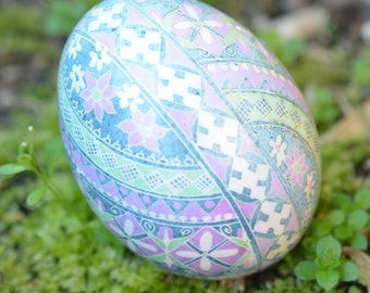 pysanka Ukrainian Easter egg in pastel colors on a large duck egg