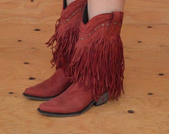 Vintage 90's Red Soft Leather Boots With Unique Long Fringe & Stud Detail Pointed Toe SZ 8.5 / 9