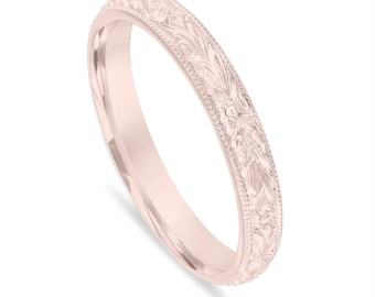Wedding Band Rose Gold, Hand Engraved Wedding Ring, Vintage Wedding Band, 3 mm Anniversary Band, Unique Wedding Band, Handmade