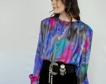 Purple jewel tones graphic print burnout stripes blouse 1990s 90s VINTAGE