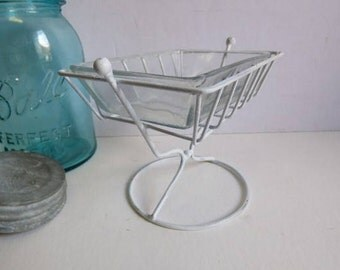 White soap dish footed tray w/ glass farmhouse kitchen bathroom jewelry storage Cottage shabby