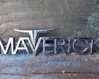 Vintage Maverick Emblem chrome auto salvage Long horn steer restoration art craft supplies