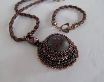 Bead Embroidery Necklace on Kumihimo Chain with Matching Bracelet