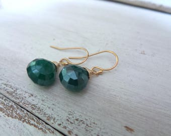 Mystic Green Onyx Earrings, 14K Gold Filled Earrings, Simple Green Onyx Jewelry, Onyx Earrings, Gifts For Her, Gift Women, Gifts Under 20