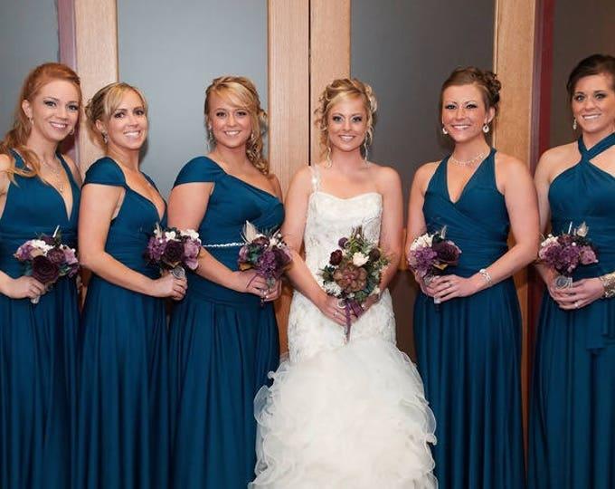"Ready Made standard, 46"" long Bixby Peacock Octopus Infinity Wrap Dress~ Bridesmaids, Weddings, Maternity, Plus Size"