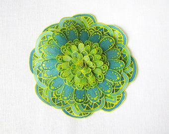 Hand painted silk flower brooch - lemon yellow, teal and green - statement brooch - Fantasy flower from hand painted natural silk