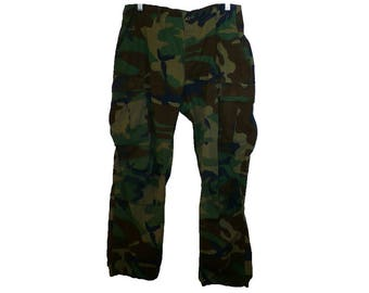 30-32-34x28, Vintage 1980's Combat Pants Woodland Camouflage United States Military BDU Pants Uniform Hunting Pants