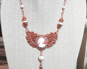Copper Brass Stamping Necklace set, Cameo, Vintage style